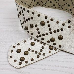 Aeropostale Accessories - Aeropostale White Leather Belt Studded Wide